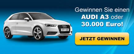 Audi A3 oder Bargeld gewinnen!